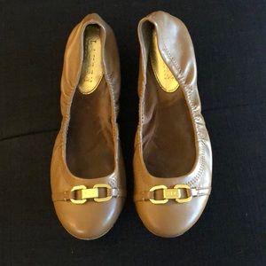 Ralph Lauren Brown Flats with Gold Buckle